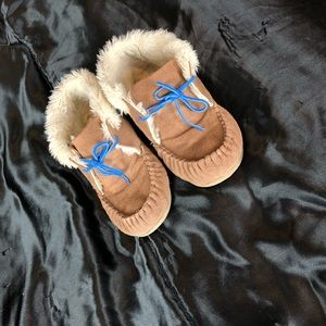 Moccasin Slippers with Blue Ties